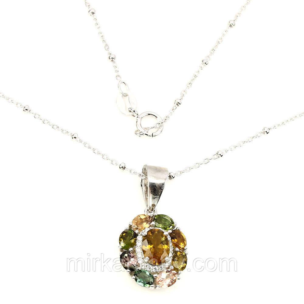 Кулон серебро в позолоте натуральный камень Турмалин + цепочка