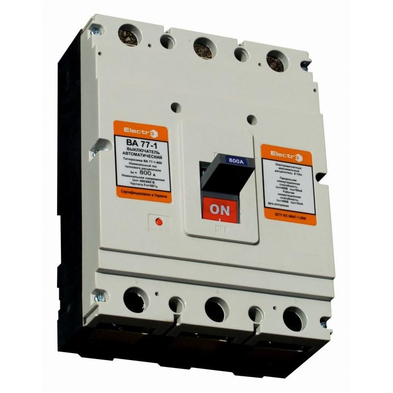 Автоматический выключатель ВА77-1-800   3 П   700А   8-12In   Icu 50кА   380В