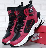1883f542c07b Кроссовки Мужские Зимние Nike M2K Tekno Winter, найк техно чёрные с  красным, реплика