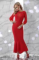 Платье красное длинное с воланом 42 44 46 48 вечернее коктейльное