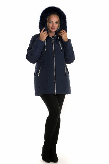78e7f030d37 Короткая зимняя куртка с натуральным мехом песца в тон изделия -  Интернет-магазин