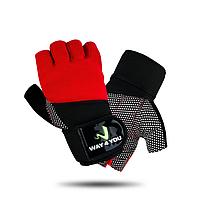 Перчатки для тренажерного зала с напульсником Way4you-Red
