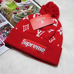 Шапка с бубоном Supreme Red, Красный, фото 2