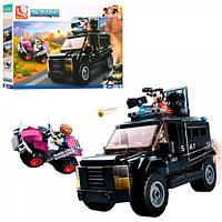 Конструктор SLUBAN M38-B0653  полиция, машина ,квадроцикл,фигурки, 293 дет,в кор-ке,33-24-5,5см