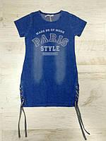 Платье-туника для девочек (джинсовый трикотаж) F&D 8-16 лет