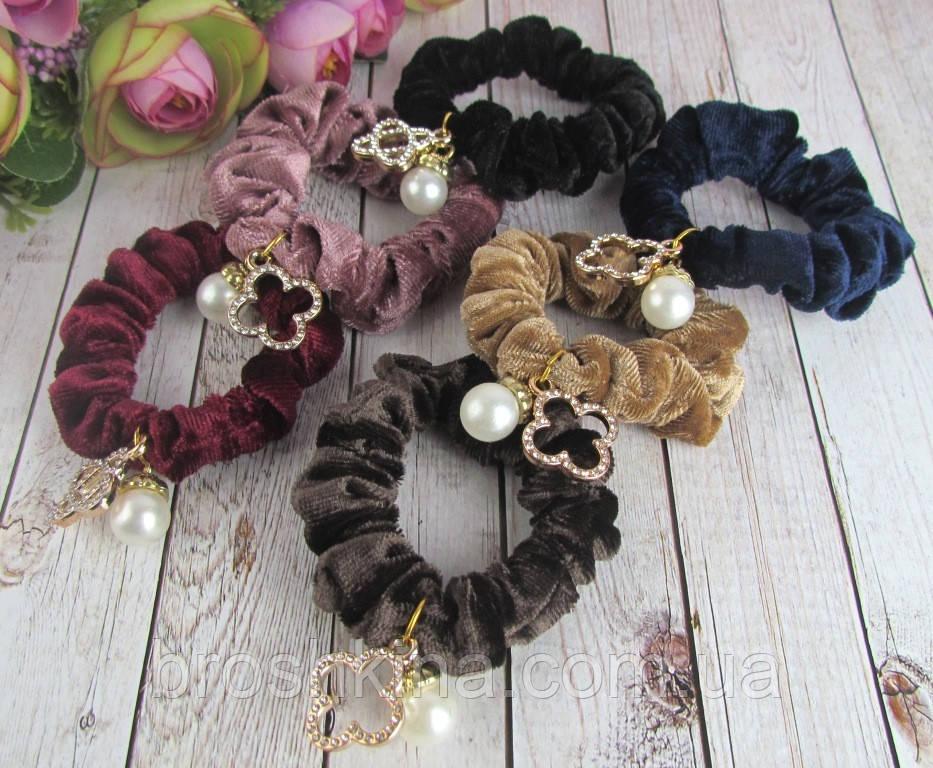 Бархатные резинки для волос с украшением в стразах и бусинами цветные 12 шт/уп