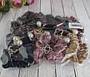 Бархатные резинки для волос с украшением в стразах и бусинами цветные 12 шт/уп, фото 4