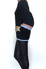 Жіночий вязаний теплий з широкими рукавами светр, фото 3