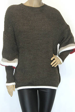 Жіночий вязаний теплий з широкими рукавами светр, фото 2