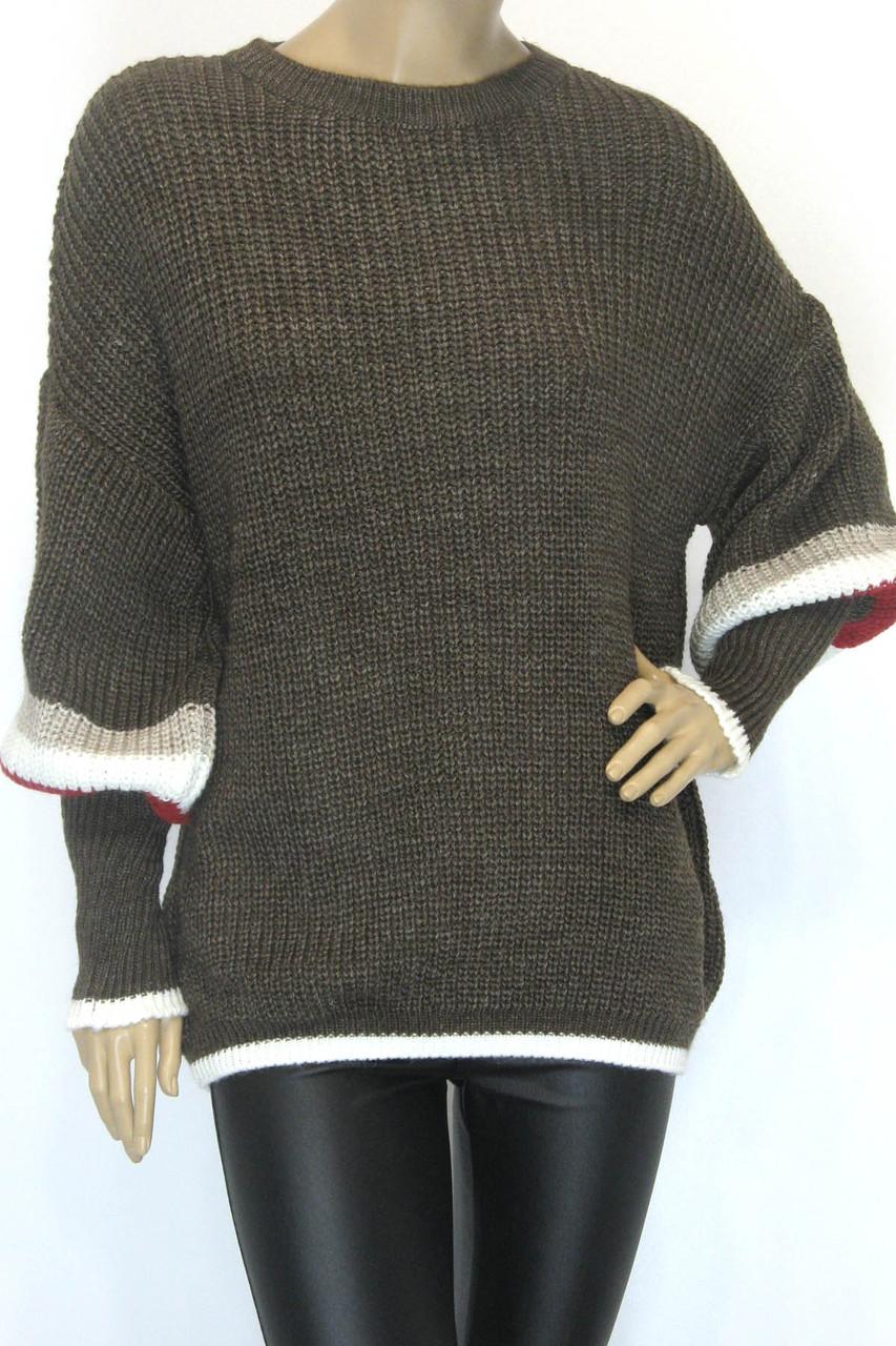 Жіночий вязаний теплий з широкими рукавами светр