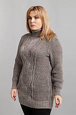 Вязаный свитер для полных женщин Кукуруза беж, фото 2