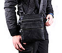 Мужская кожаная сумка 302BL Черная, фото 2