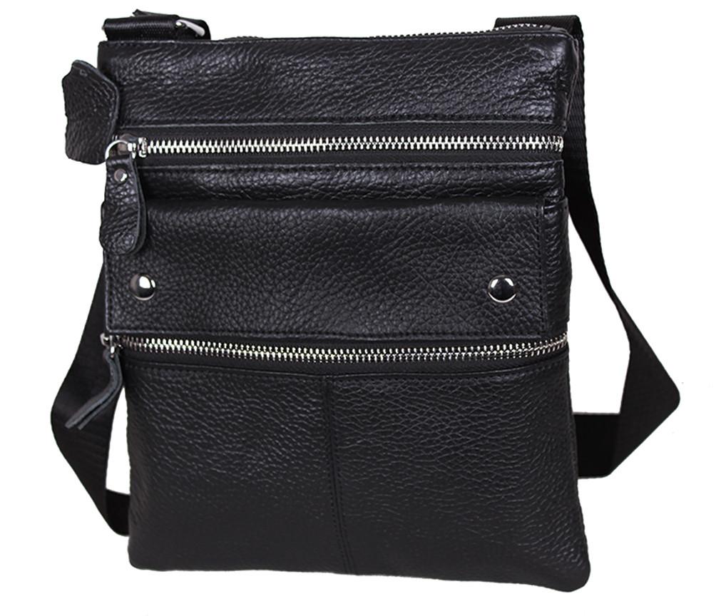Мужская кожаная сумка 302BL Черная