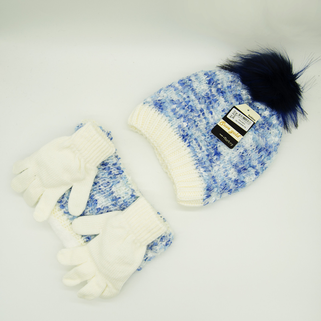 Комплект: шапка, снуд, перчатки Детский 7-12 лет Голубой