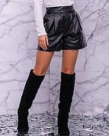 Женские шорты на флисе из экокожи (3004-3003-3005 svt) Черный