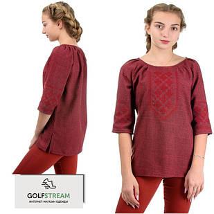 Элегантная блузка с вышивкой (марсала)