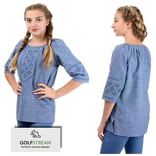 Модная блузка с вышивкой (джинс)