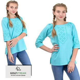Современная блузка-вышиванка  (мята)
