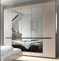 Шкаф 5 дверный Гектор Сонома темная+серый глянец с зеркалами