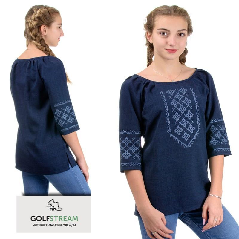 Женская блуза-вышиванка лен-габардин (темно-синий)