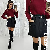 Женский красивый костюм: свитер и юбка мини (3 цвета), фото 1