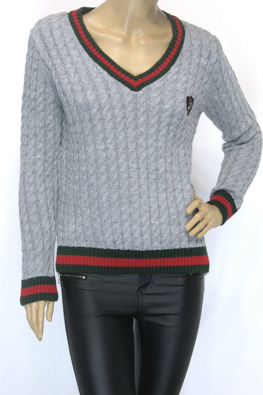 Модний жіночий джемпер з косичками в стилі Gucci