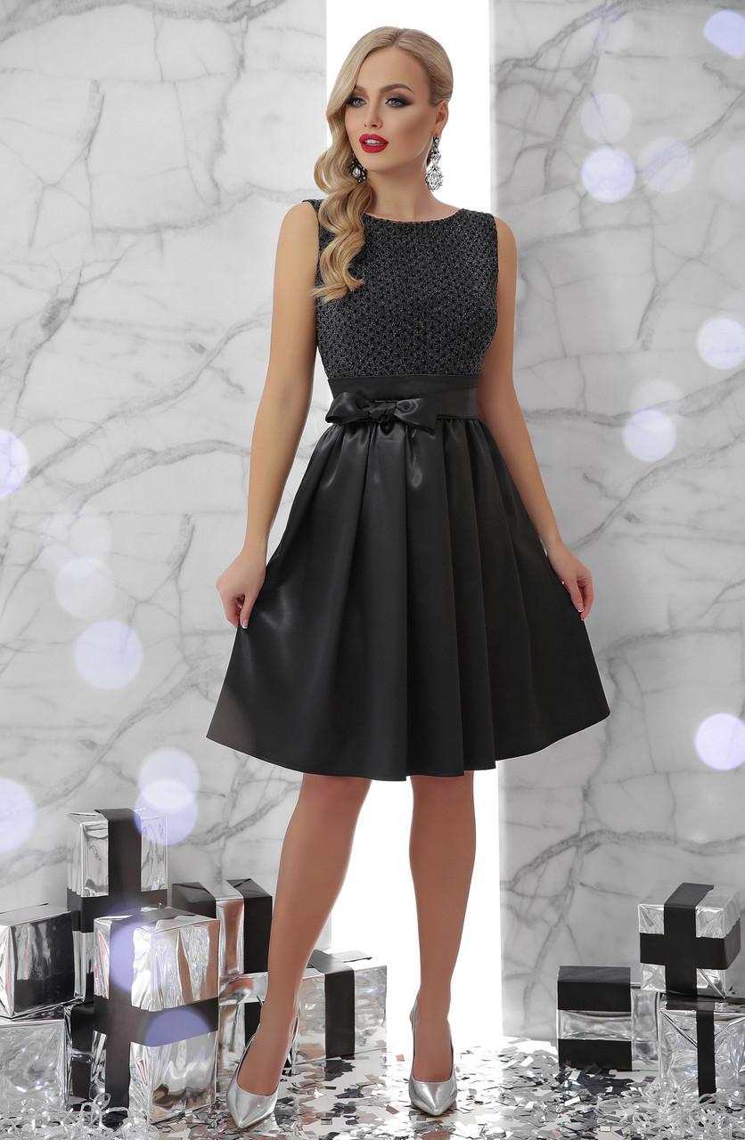 Купить Платье черное вечернее без рукавов с пышной юбкой новогоднее нарядное коктейльное 42 44 46 48