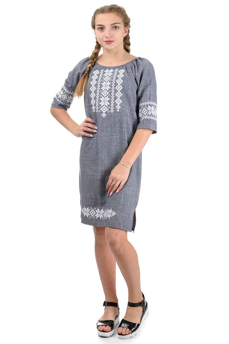 Платье женское с вышивкой серый