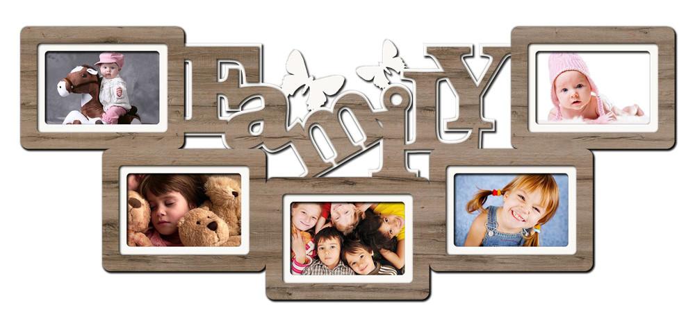 """Фоторамка коллаж """"Family"""" 34х80см., рамка для фотографий, настенный декор и подарок"""