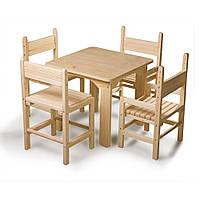 Детский стол и стул сосновый (4 шт.) SportBaby