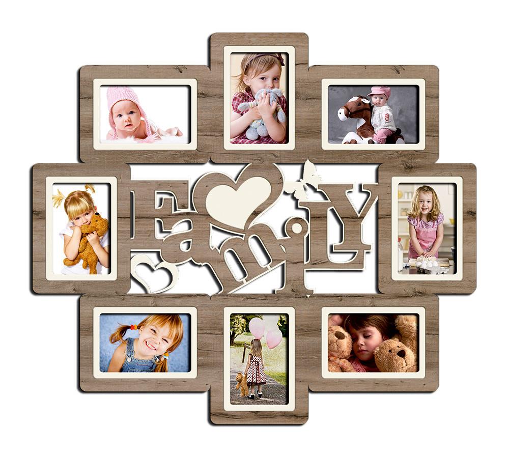 """Фоторамка коллаж """"Family"""" 68х60см., рамка для фотографий, настенный декор и подарок"""