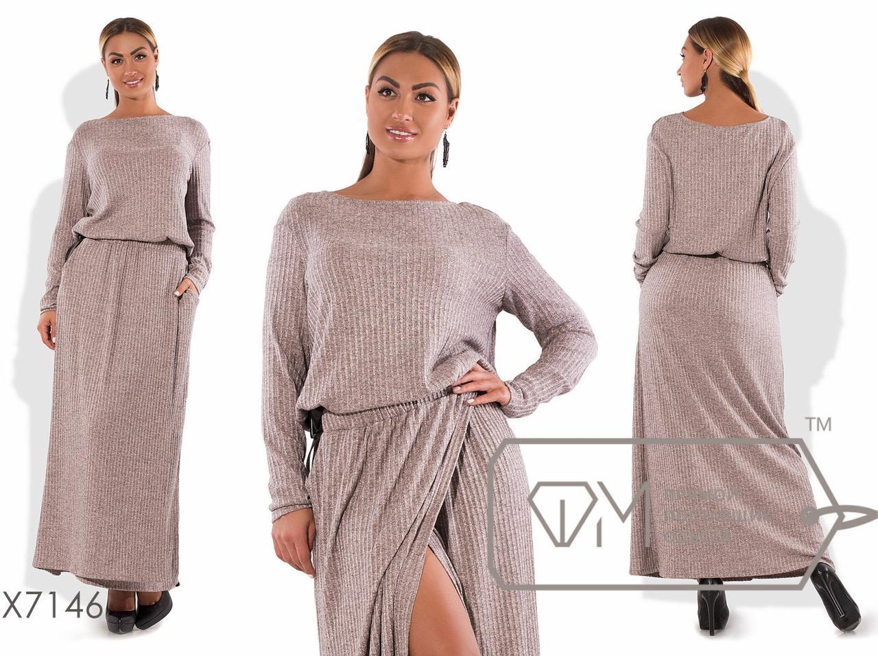 4e464d2015b5834 Теплое платье макси А-покроя вязаное с длинными рукавами. Большие размеры.  Разные цвета