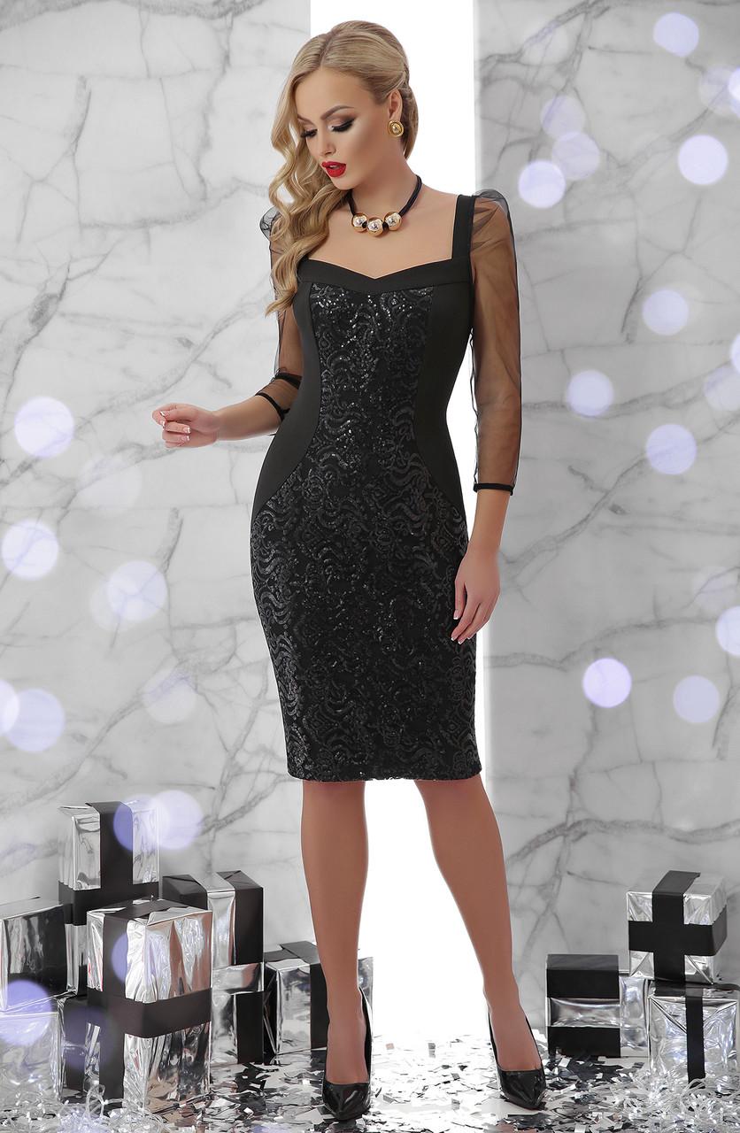 Вечірня чорна сукня з креп-дайвінгу, паєток та сітки