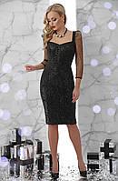 Вечірня чорна сукня з креп-дайвінгу, паєток та сітки , фото 1