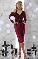 Платье бордовое велюр новогоднее нарядное коктейльное 42 44 46