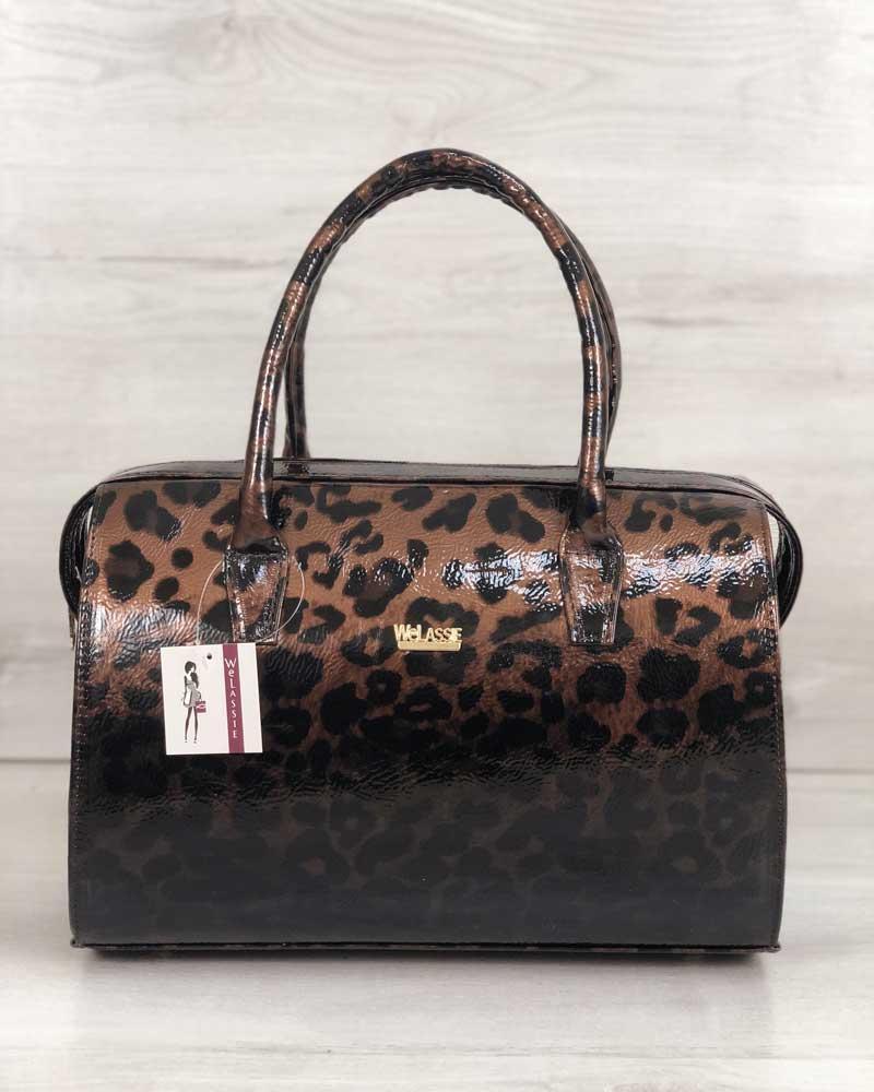 63d2290e34c0 Женская сумка саквояж лаковый леопард: продажа, цена в Днепре ...