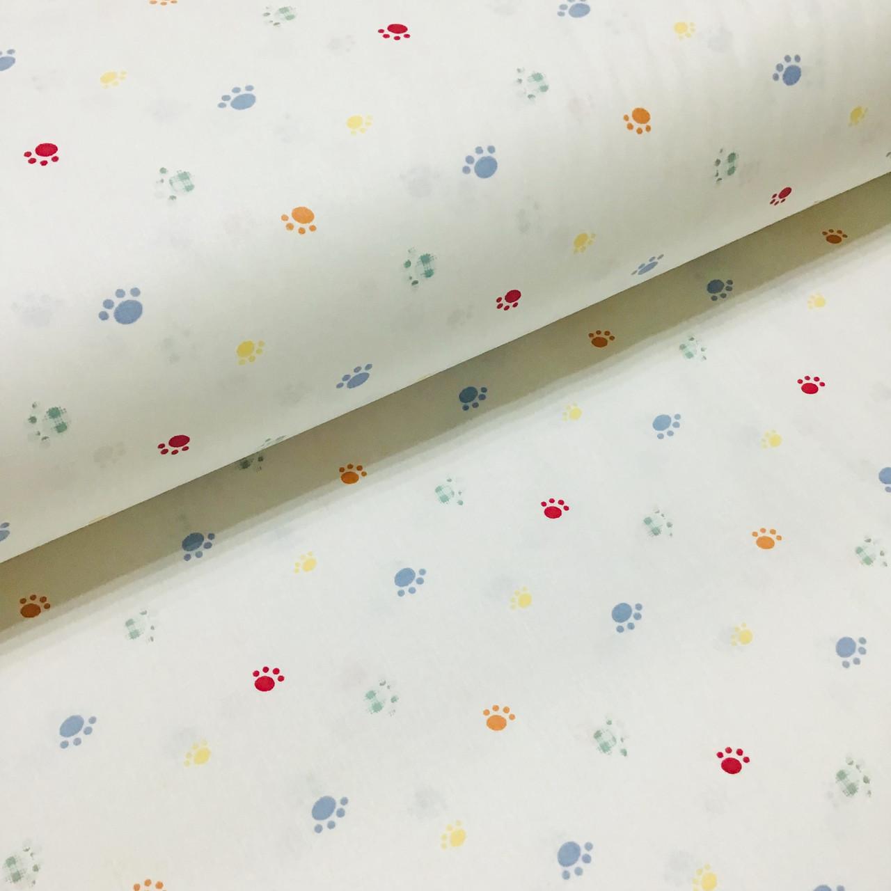 Ткань поплин лапки желто-голубые на белом (ТУРЦИЯ шир. 2,4 м) №34-79
