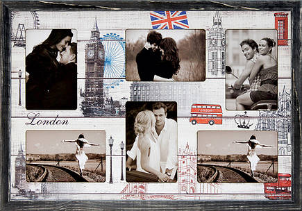"Фоторамка коллаж ""London"" 38х53см., рамка для фотографий, настенный декор и подарок, фото 2"