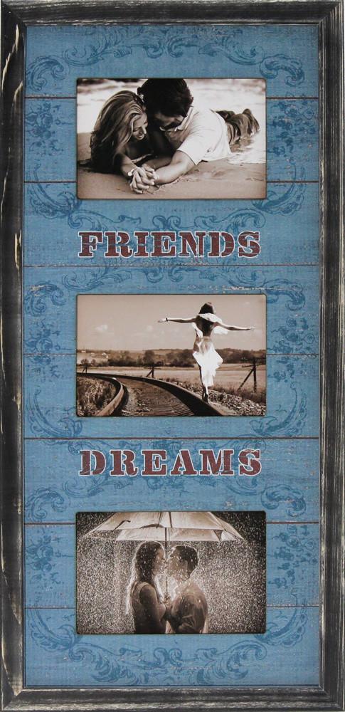 """Фоторамка коллаж вертикальная """"Friends Dreams"""" 26х53см., рамка для фотографий, настенный декор и подарок"""