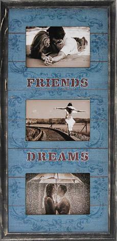"""Фоторамка коллаж вертикальная """"Friends Dreams"""" 26х53см., рамка для фотографий, настенный декор и подарок, фото 2"""