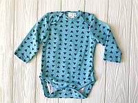 """Боди для новорожденного с длинным рукавом рукавом """"Треугольник на голубом"""""""