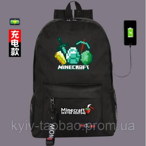 669fbde9055a Рюкзак Майнкрафт Minecraft с USB разъемом + универсальный шнур ...