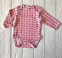 """Бодик детский с длинным рукавом рукавом на кнопках  """"Треугольник на розовом"""""""