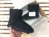 Женские зимние угги UGG AUSTRALIA - mini shiny classic double zip, black , фото 1