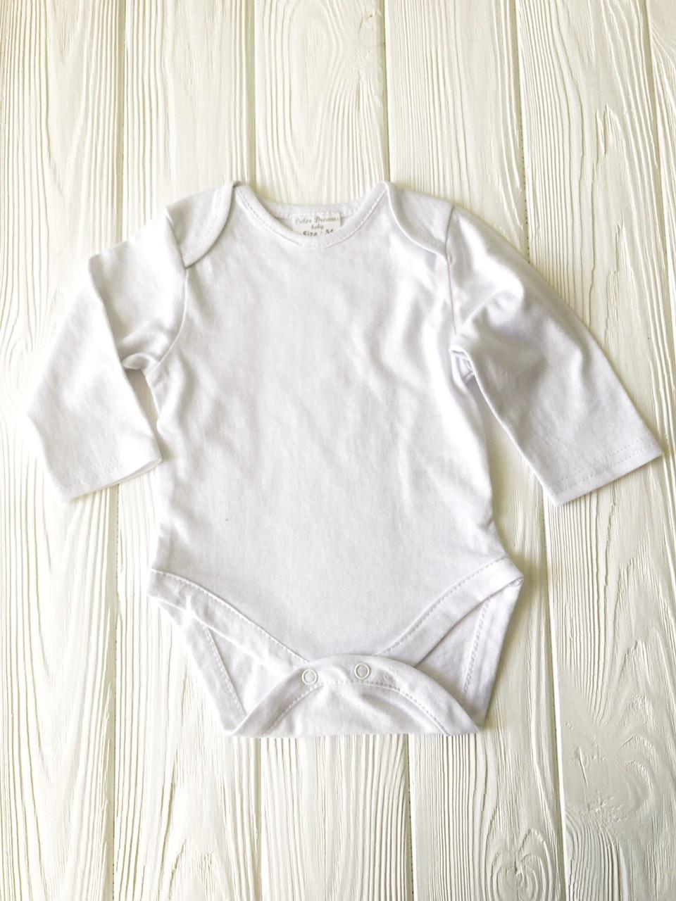 Боди детский с длинным рукавом рукавом 56-92р. Белый