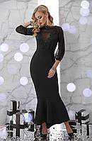 Вечірня сукня з креп-дайвінгу, кружева та шифону на рукавах , фото 1