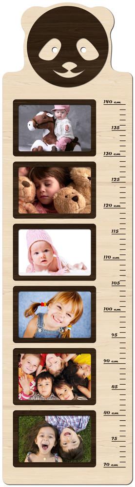 """Фоторамка коллаж вертикальная, ростомер детский из фотографий """"Панда""""  25х93см."""