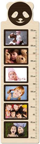 """Фоторамка коллаж вертикальная, ростомер детский из фотографий """"Панда""""  25х93см., фото 2"""