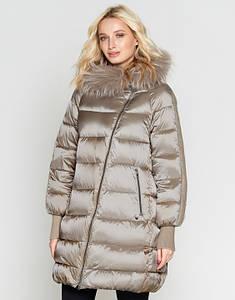 Sea Wing   Зимняя женская куртка с опушкой 9727 бежевый