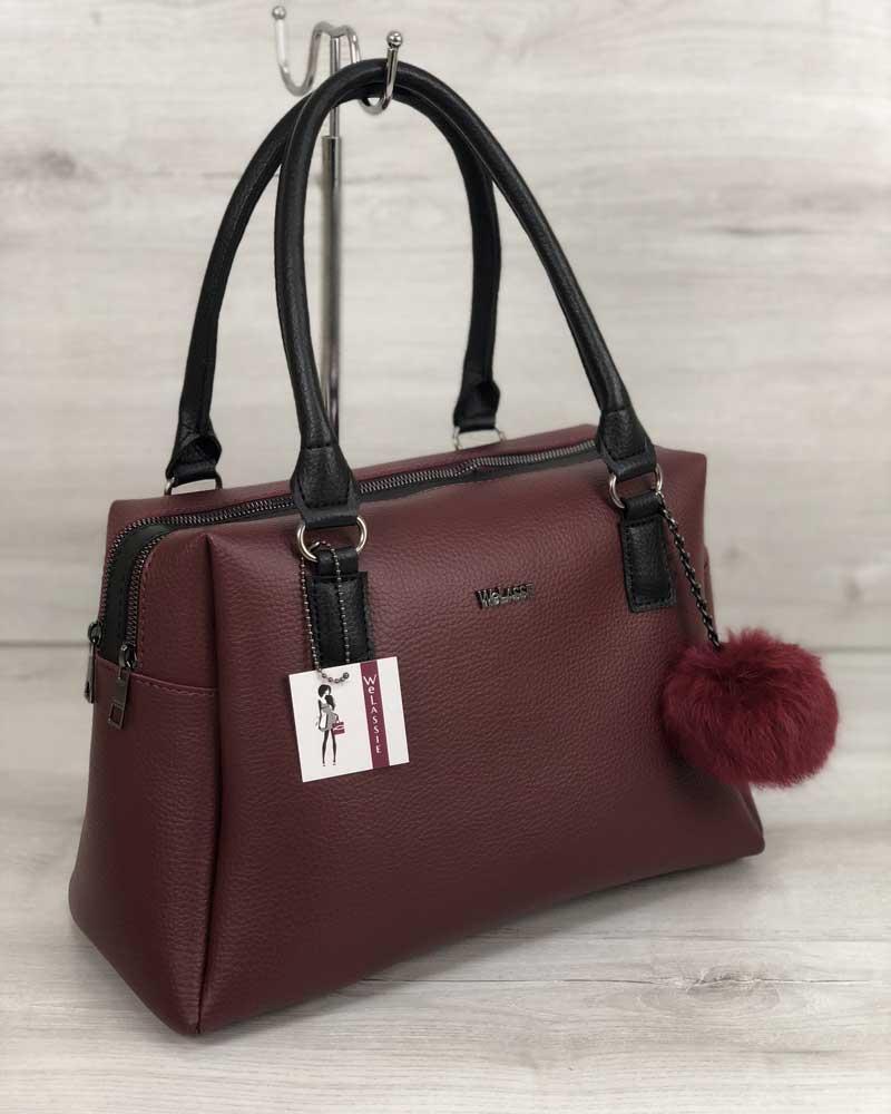 40df1b0c0b6c Женская сумка бордового цвета с брелком: продажа, цена в Днепре ...